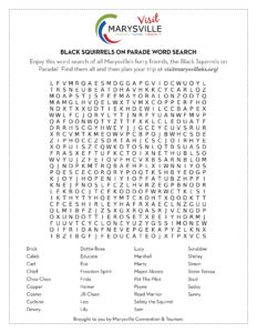 Black Squirrels Word Search